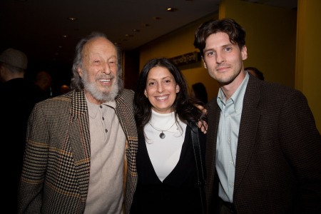 Old School, New School producers Diane Leigh Davison and Steven Fischer with Herman Leonard (far left) at a gallery opening in New York City. (2009, photo by Rick Edwards)