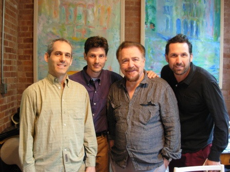 L-R: Fred Weil, Steven Fischer, Brian Cox, Chris Cassidy shooting Old School New School, New York City, June 2010.