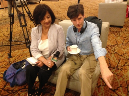 Producer Nalini Raja and Director, filmmaker Steven Fischer shooting for TV Asia in Chicago, Illinois in 2016